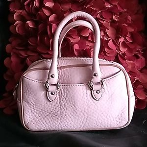 COLE HAAN WOMEN'S PINK MINI TUMBLED LEATHER PURSE